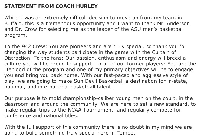 Bobby Hurley Statement